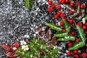 Winter Card Of Evergreen Branches, Red Leaves And Berry With Snow, Closeup