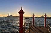 Morning in Venice, piers at Grand Canal and San Giorgio church