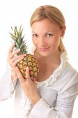 Girl and pineapple.