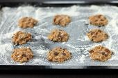 Uncooked Cookies On Baking Tray