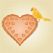 Wicker Heart And  Bird Vector