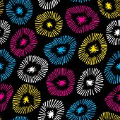 Vector Seamless Pattern With Flowers On Black Background.  Background With Circle Ornamental Texture