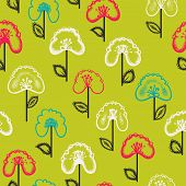 Seamless Floral Pattern With Flowers And Leaves. Endless Red Background.