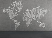 World Map Drawing On Wall