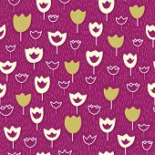 Seamless Pattern Wirh Tulips And Grass On A Violet Backdrop.