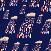Vector Cute Seamless Pattern With Colorful Rainy Clouds. Dark Endless Background.