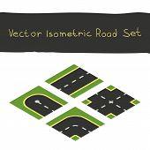 Isometric game road elements set