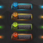Glowing glass infographics options.