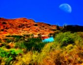 Moon And Desert Pond Impressions