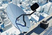 Satellite dish on the modern city.