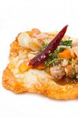 Fried Eggs With Pork And Chilli Topping.