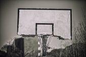 A broken basketball backboard