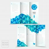 Tri-fold Brochure Design With Geometric Blue Crystal Elements