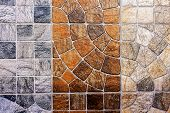 stock photo of ceramic tile  - Close up of colorful bathroom and wall decorated ceramic tiles - JPG