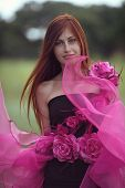 Red-haired Girl In The Dress Of Flowers