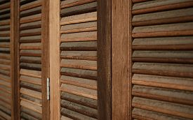 stock photo of louvers  - The Wood Louver Door Old Condition Classic Style  - JPG