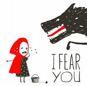 Постер, плакат: Little Red Riding Hood Crying and Black Scary Wolf
