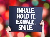 stock photo of exhale  - Inhale Hold It Exhale Smile card with bokeh background - JPG