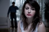 pic of abused  - Horizontal view of victim of domestic abuse - JPG