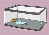 stock photo of goldfish  - Cartoon of pet goldfish dying in empty fish tank - JPG
