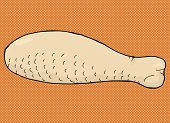 foto of poultry  - Hand drawn raw poultry meat drumstick cartoon - JPG