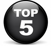 picture of 5s  - Illustration of top five modern design black sphere icon - JPG