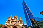 stock photo of trinity  - Boston Trinity Church at Copley Square in Massachusetts USA - JPG