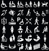 foto of disabled person  - Black and white disability and people related graphics collection isolated on black background - JPG