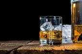 image of close-up shot  - Glass with Whiskey  - JPG
