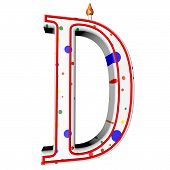foto of letter d  - D letter in shape of birthday candle 3d render isolated over white square image - JPG
