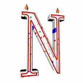 image of letter n  - N letter in shape of birthday candle 3d render isolated over white square image - JPG