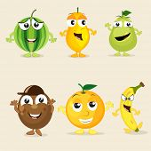 pic of papaya  - Funny cartoons of colorful fruits like watermelon - JPG