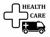 pic of ambulance car  - medicine icon with cross and ambulance car silhouette - JPG