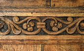 foto of sag  - traditional door panel carved in wood at the old monastery - JPG