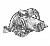 picture of sawing  - circulating saw on a white background - JPG