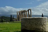 pic of olympian  - A view toward the ruins of the Olympian Zeus temple in Athens - JPG