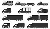 pic of pick up  - Cartoon Car Icons Silhouetted - JPG