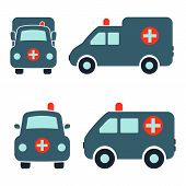 stock photo of ambulance car  - Cartoon Car Icons Silhouetted - JPG
