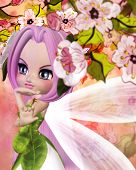 image of fairy tail  - Colorful illustration of blooming sakura branches and cute fairy - JPG