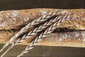 foto of baguette  - Baguette made of spelt wheat Close up shot - JPG