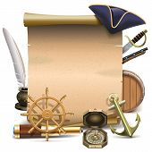 stock photo of inkpot  - Seafaring frame with old scroll - JPG
