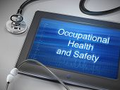 stock photo of ppe  - occupational health and safety words displayed on tablet with stethoscope over table - JPG