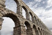 image of aqueduct  - an old stone aqueduct in Segovia Spain - JPG