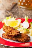 picture of wieners  - wiener schnitzel and potato salad with beer - JPG