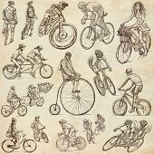 stock photo of freehand drawing  - CYCLING and CYCLISTS  - JPG