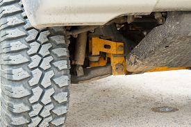 stock photo of four-wheel  - Wheel undercarriage of the car Four - JPG