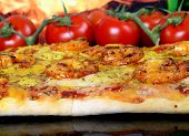 Rose Colored Garden Prawns In Wine Marinade On Tomato Pizza