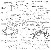 Постер, плакат: Aerodynamics Law Theory And Physics Mathematical Formula Equation Doodle Handwriting Icon In White