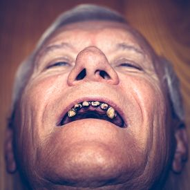 image of ugly  - Closeup of an old man face with ugly teeth - JPG