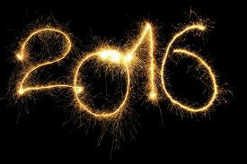 stock photo of sparking  - New Year 2016 formed from sparking digits over black background - JPG